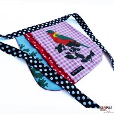 Tablier enfant original oiseau heron et sa poche chic retro