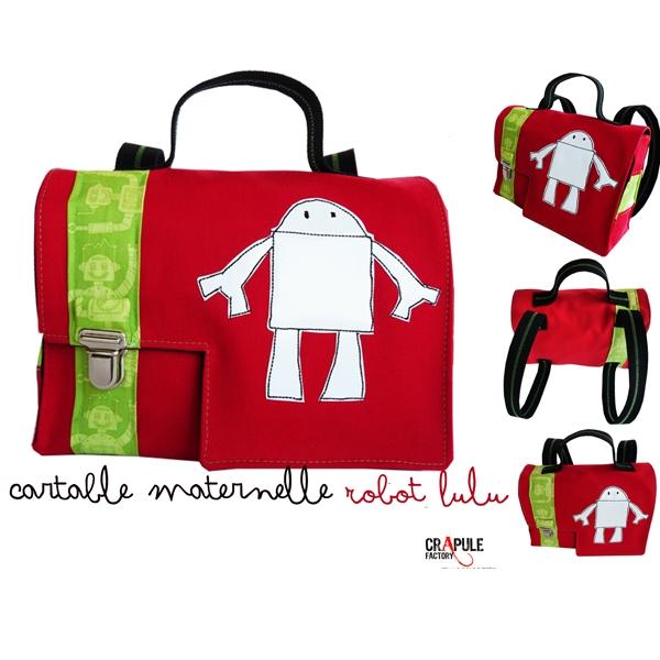 la moitié 375a5 0d60b CArtable maternelle original rouge robot blanc tissus motifs ...