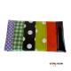Porte Chéquier patchwork original  bandes  toile cirée vert vichy -orange - mauve à pois