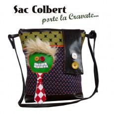 """Sac  / besace """" COLBERT"""" porte la cravate vintage, pop, rock, dejanté, décalé"""