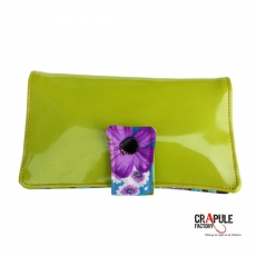 "Portefeuille ""MARCIUS"" ORIGINAL simili cuir orange / violet vert et fleur seventies"