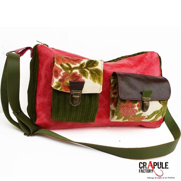 ORIOS sac de créateur original en cuir noir aspect vieilli style vintage  chic et décalé carreaux ... a3332627bcce