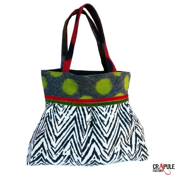 sac laine bouillie noir motifs blancs z8hXvP
