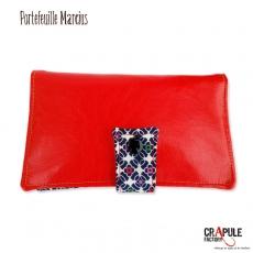 """Portefeuille """"MARCIUS"""" ORIGINAL retro pop cuir synthétique rouge brillant /motifs fleurs colorées"""