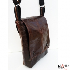 Sac besace SacOche  BALTHAZAR pour Homme original CHIC vintage simili cuir  marron motif seventies losange orange moutarde