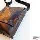 Sac besace SacOche  BALTHAZAR pour Homme original CHIC vintage simili cuir  marron motif seventies losange orange moutarde