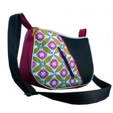 """Sac besace """" CoLOc Bohème décalé - Original /fleurs vert rose / simili cuir vert sapin - beige - rose - poche zippée à l'avant"""
