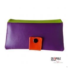 """Portefeuille """"MARCIUS"""" simili cuir violet vert orange... ça pétille!!"""