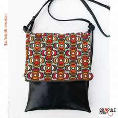 Sac Besace rabat zip original vert pomme motifs africain