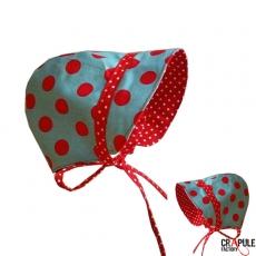 Béguin / Bonnet retro original bébé 6 mois bleu pois rouge