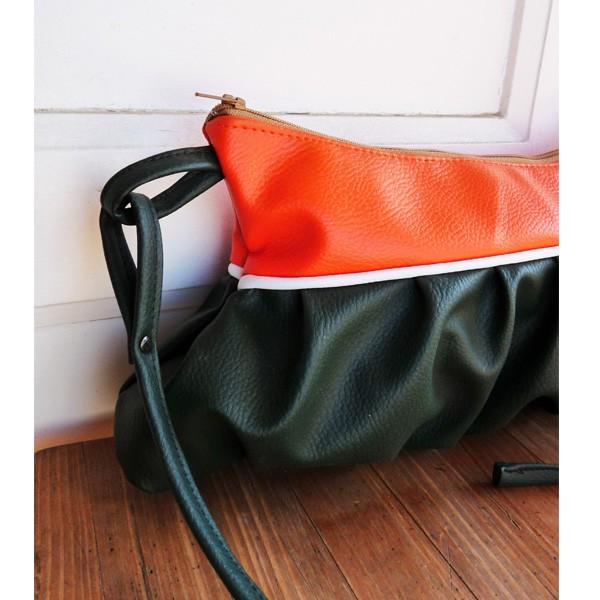 sac besace ad la de bouffant simili cuir orange vert. Black Bedroom Furniture Sets. Home Design Ideas