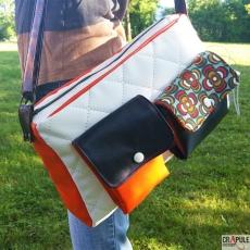 ORIOS sac de créateur original souple style vintage décalé en cuir velours et fausse fourrure. poche clip vieilli