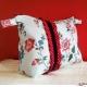 Big off-white Retro toilet bag vanity case with flowers, polka-dot red rustle purple velvet -original motives retro flowers