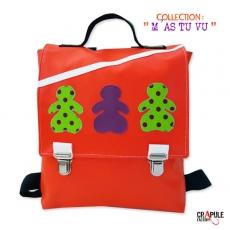 """CArtable maternelle/ Matriochka sac à dOs - pour enfant orange / violet applique """"poupée russe"""""""