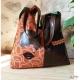 Original Sac de créateur en cuir marron et ton orange et poche carreaux décaléé vintage
