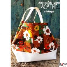"""Grand Cabas Vintage rétro """" AGATHE"""" tissus vintage d'origine recyclé épais grosse fleurs bleu / blanc cassé"""