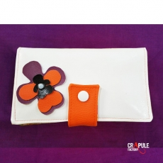 "Portefeuille ""MARCIUS"" ORIGINAL Vintage simili cuir orange / violet vert et fleur seventies"