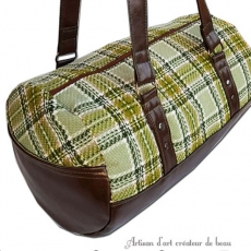 Sac baluchon original bowling vintage lainage carreaux / marron