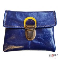 Porte Monnaie original  vintage bleu et bande rouge à pois zip