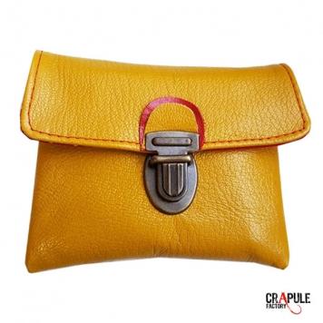 tout neuf 0f0db 54186 Porte monnaie CUIR jaune poussin de créateur original pop ...