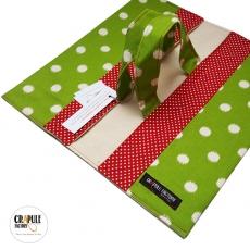 Sac à tarte/ porte tarte original retro vert et rouge à pois lin coton épais