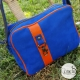 "Sac Besace Cuir ""Bona"" original orange bleu et jaune moutarde"