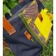 Grand sac CABAS Cuir et  jeans denim - original - fleurs