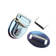 Fermoir cartable sac pochette nickelé tuck 21x30mm cuir et tissus
