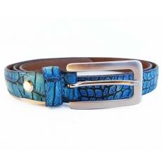 Ceinture cuir femme style croco bleu azure chic et colorée artisanale