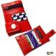 Porte carte / porte monnaie / billets zip original rouge et motifs pop vintage
