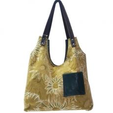 2a06aec2ed GRETA sac de créateur rétro chic original velours vert fleurs et poche cuir  vert profond cabas