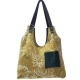 GRETA sac de créateur rétro chic original velours vert fleurs et poche cuir vert profond  cabas