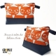 Grosse trousse de toilette pop bleu nuit motifs CHATS orange original