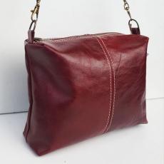 Sac de créateur cuir rouge cerise vintage forme cubique original