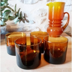 Verres marron vintage seventies lot de 4