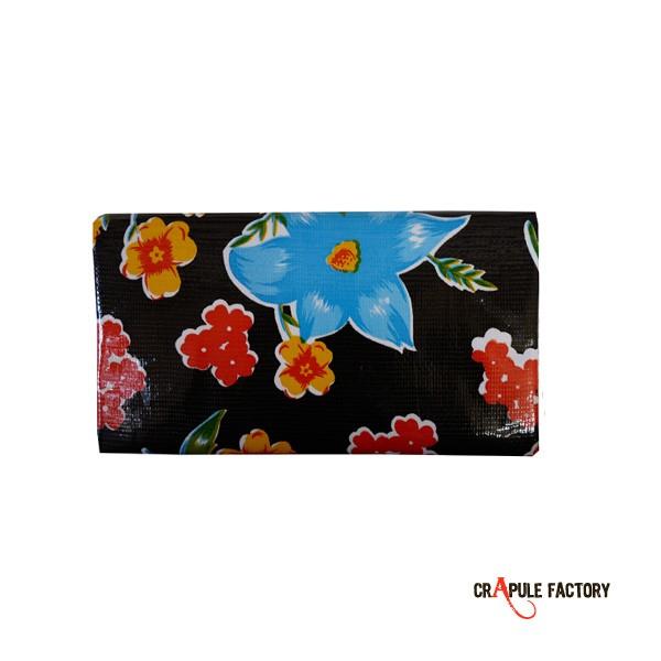 porte ch quier kitsch vintage toile cir e noir et fleurs plein de pep 39 s doublure coton. Black Bedroom Furniture Sets. Home Design Ideas