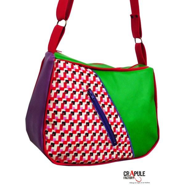 sac besace coloc original en ska vert violet rouge. Black Bedroom Furniture Sets. Home Design Ideas
