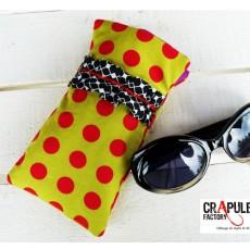 """Etui à lunettes  """"Cap'taine"""" rétro froufrou vert pistache pois rouge original et  chic  Molletonée"""