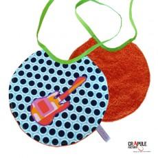 Bavoir rond à nouer original mixte retro / vintage pois bleu bande orange et noir pois