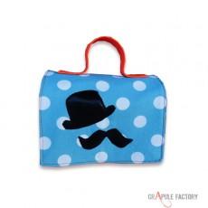 Mini malette à gouter / lunch box /  Original  vintage à pois bleu et noeud papillon orange simili cuir bébé/ enfant