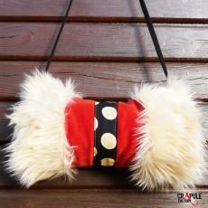 Manchon fausse fourrure long poils 'Yeti' poivre et sel Vintage - kitsch -