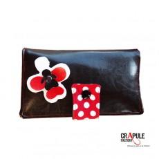 """Portefeuille """"MARCIUS"""" simili cuir marron et rouge pois applique fleur chic vintage"""