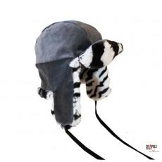 Chapka enfant velours vert boutielle fausse fourrure zebre et polaire chic