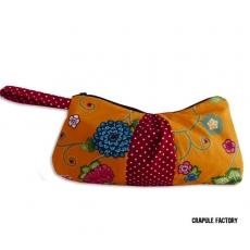 TrOusse / Pochette plissée originale bohème retro orangé fleur et rouge à pois