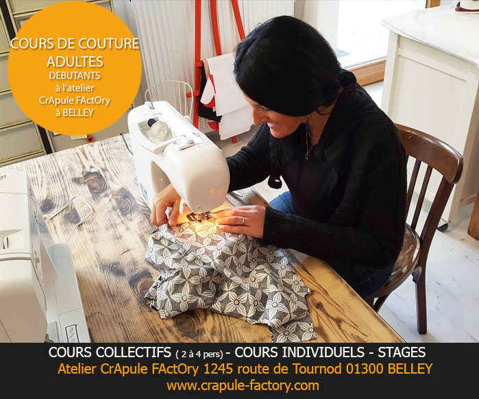 cours indivuels de couture adulte enfants ado atelier crapule factory 01300 belley