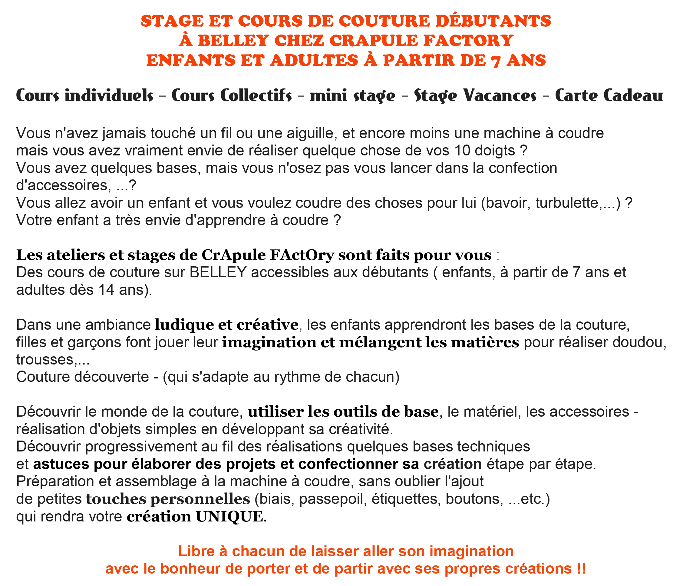 présentation cours et stage de couture crapule factory Belley 01300