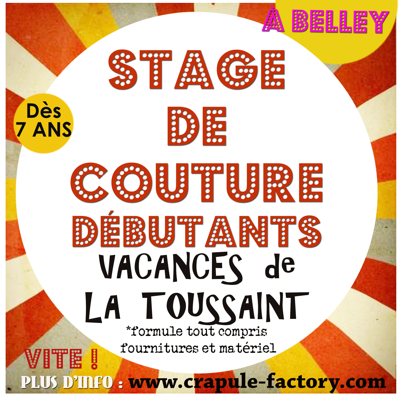 stage couture Belley - Toussaint 2018 cours de couture - loisirs Belley  ain Atelier CrApule FActOry - bugey sud stéphanie Erlich-Maujean