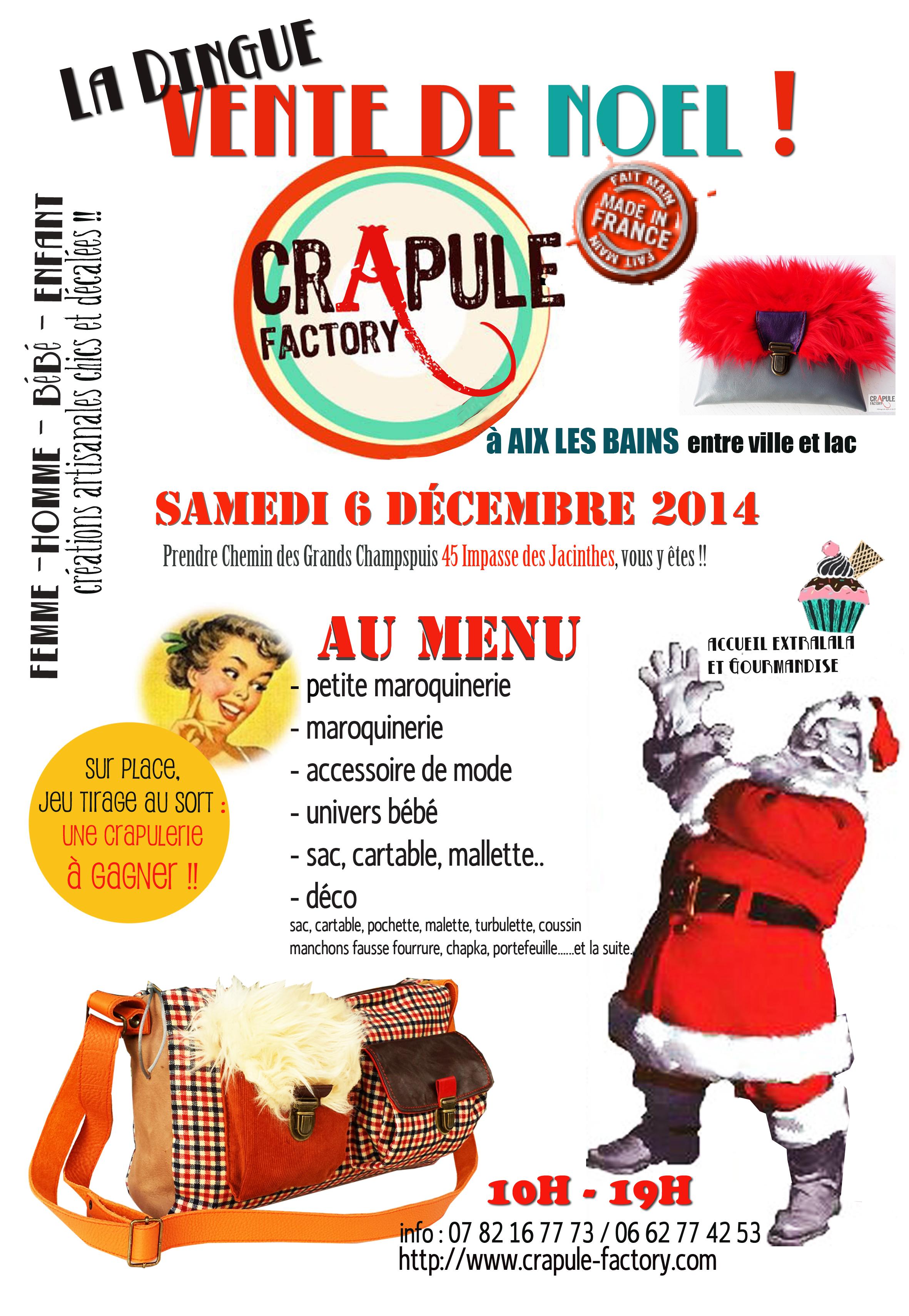 Vente de Noel CrApule FActOry aix les bains samedi 6 decembre 2014